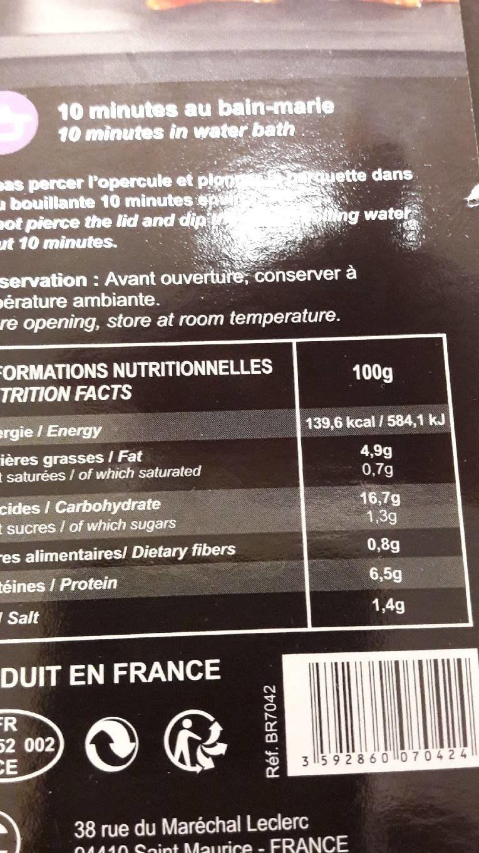 Poulet Basquaise & Riz - Voedingswaarden - fr