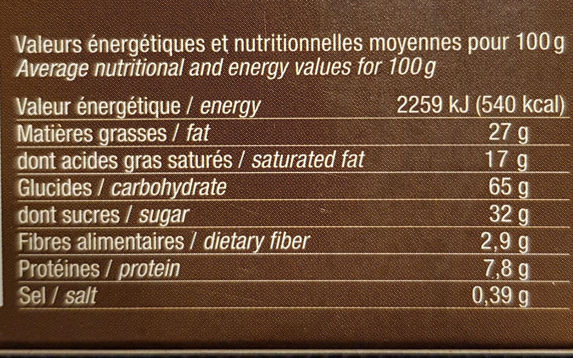 Les broyés du Poitou aux pépites de chocolat - Informations nutritionnelles