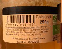 Miel d'Acacia et Gelée Royale - Ingrédients