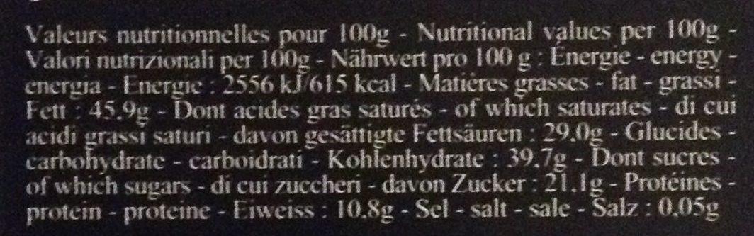 Chocolat Kacinto - Informations nutritionnelles