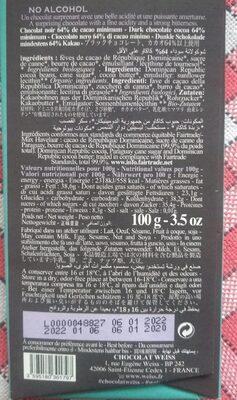 Tablette Chocolat Noir - Ceiba - Informations nutritionnelles - fr