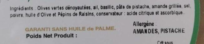 Tapenade verte au basilic - Ingredients