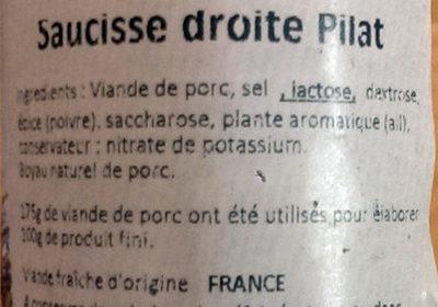Saucisson du Pilat - Ingredients