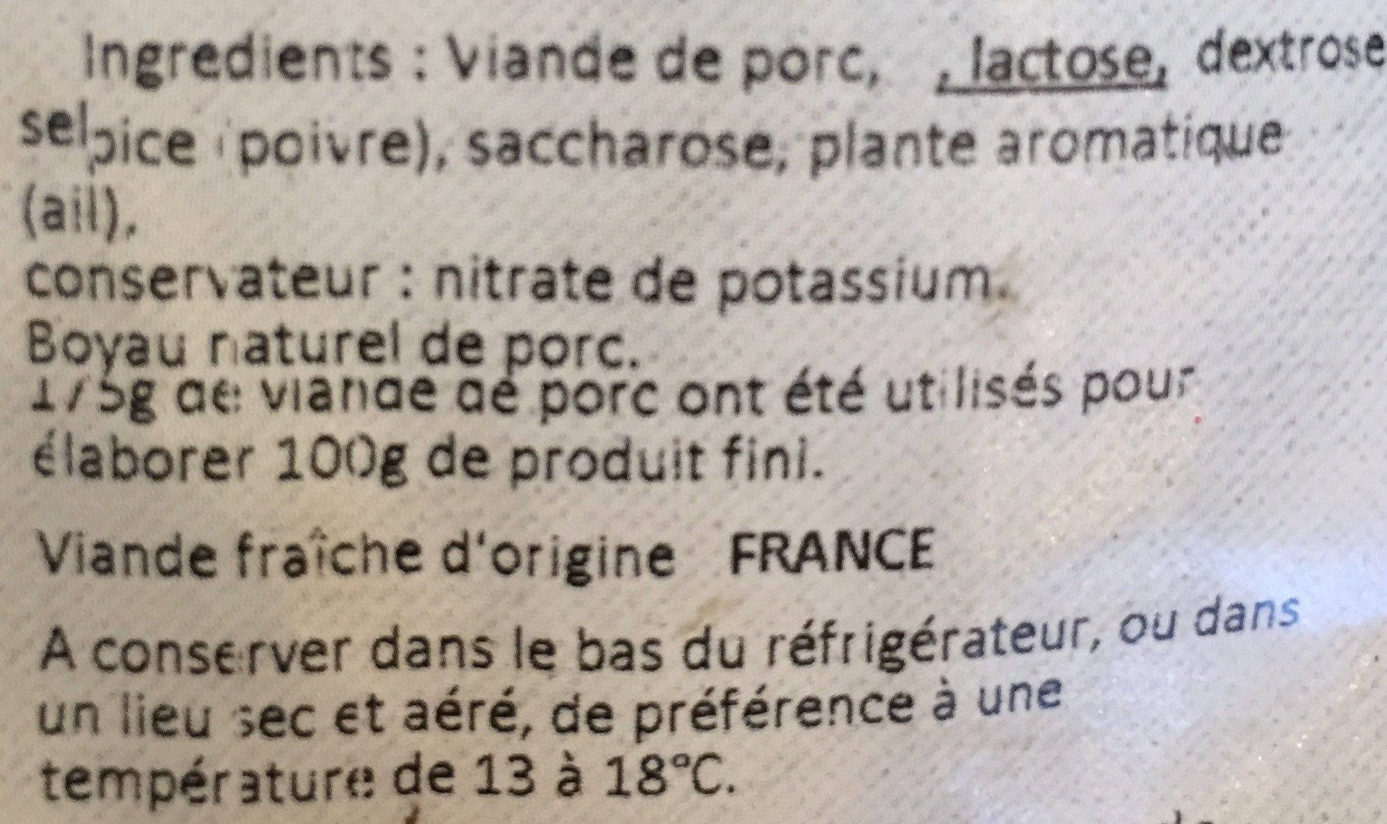 Saucisson sec - Ingredients - fr