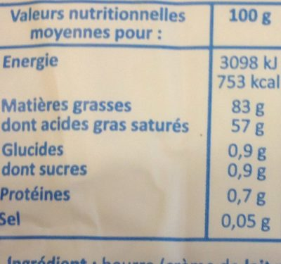 Beurre doux le moulé - Nutrition facts - fr