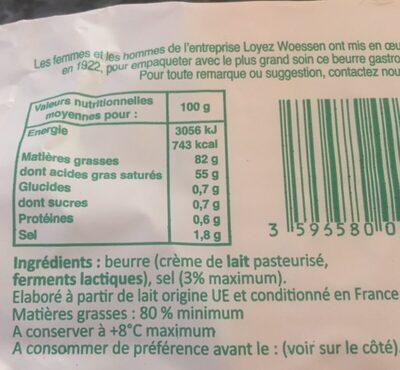 Beurre demi-sel le moulé - Ingrédients - fr