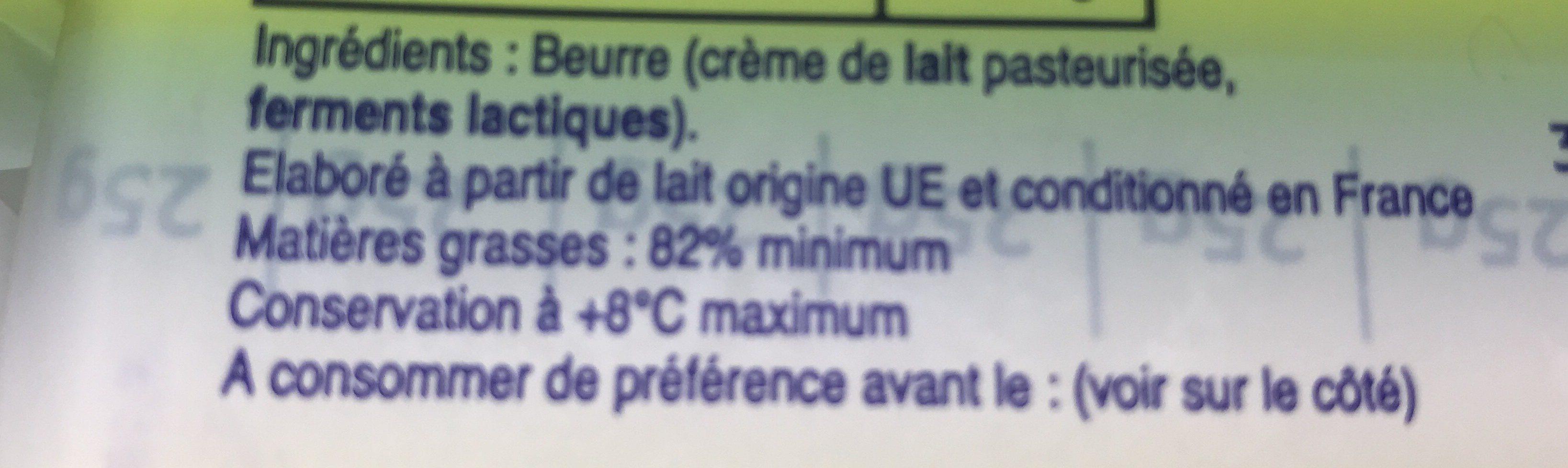 Beurre doux plaquette 82% matieres grasses - Ingrediënten