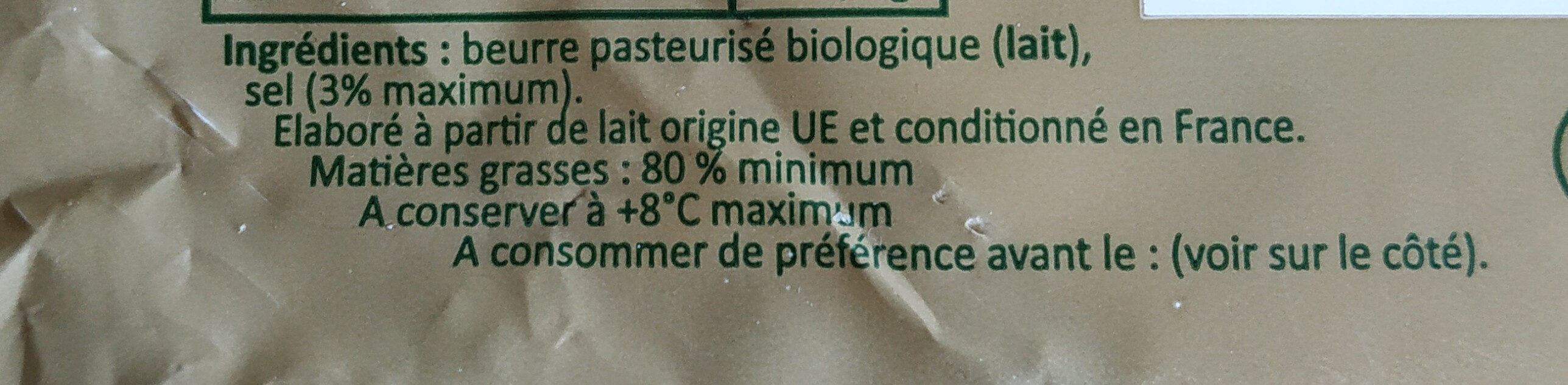 Le Campagnou Bio Beurre Moulé Demi-Sel - Ingredients - fr