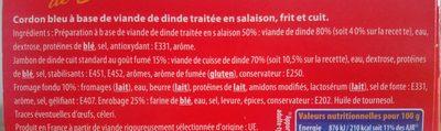 800G Escalope Cordon Bleu de Dinde Maxi Format Père Dodu - Ingredients