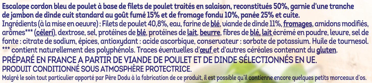 Escalope cordon bleu de poulet 100% filets - Ingrédients - fr