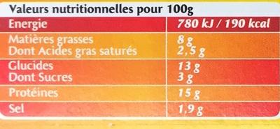 Cordon Bleu au Comté fondu (x 2) - Nutrition facts
