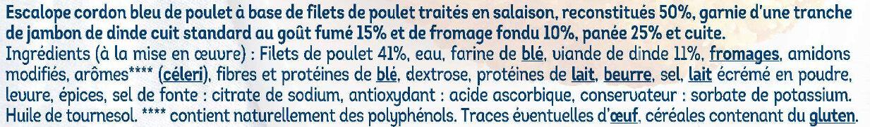 Escalope cordon bleu de poulet -25% de sel - Ingrédients - fr