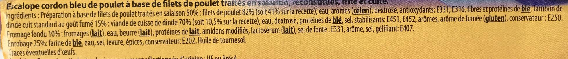 Escalope de cordon bleu poulet - 25% de sel en moins - Ingredients