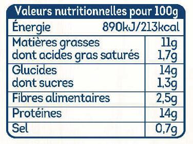 Nuggets de poulet -25% de sel - Valori nutrizionali - fr