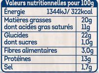 Cheezy croc au Comté fondu - Informations nutritionnelles - fr