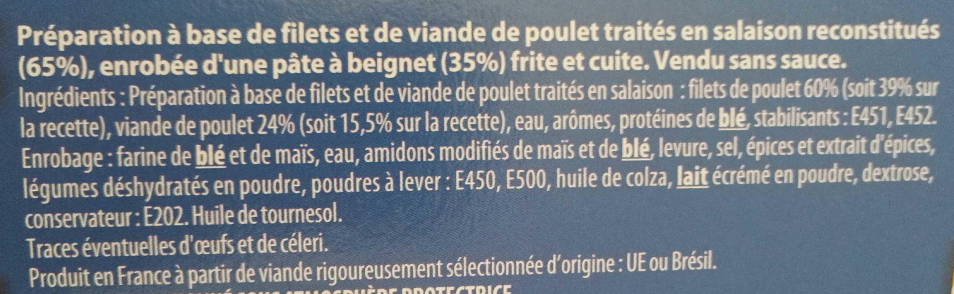Nuggets aux filets de poulet -25% de sel - Ingrédients
