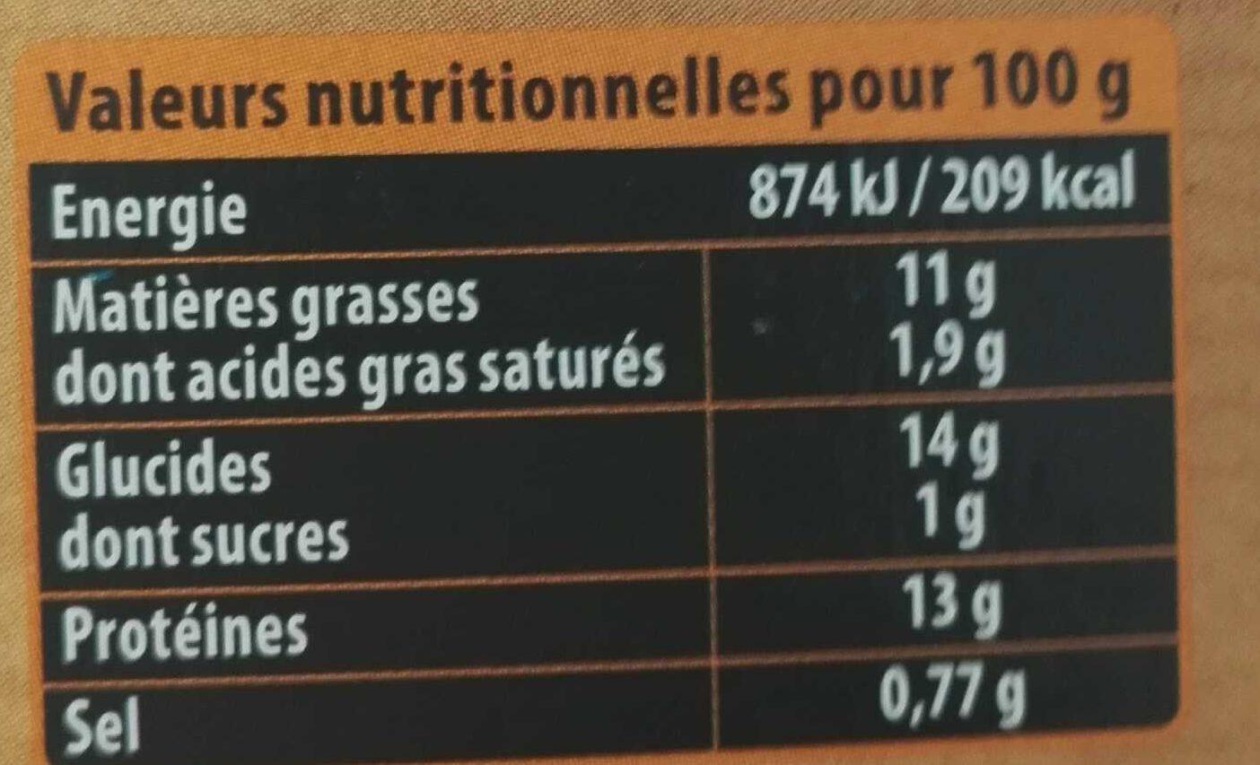 Nuggets aux filets de poulet -25% de sel - Informations nutritionnelles