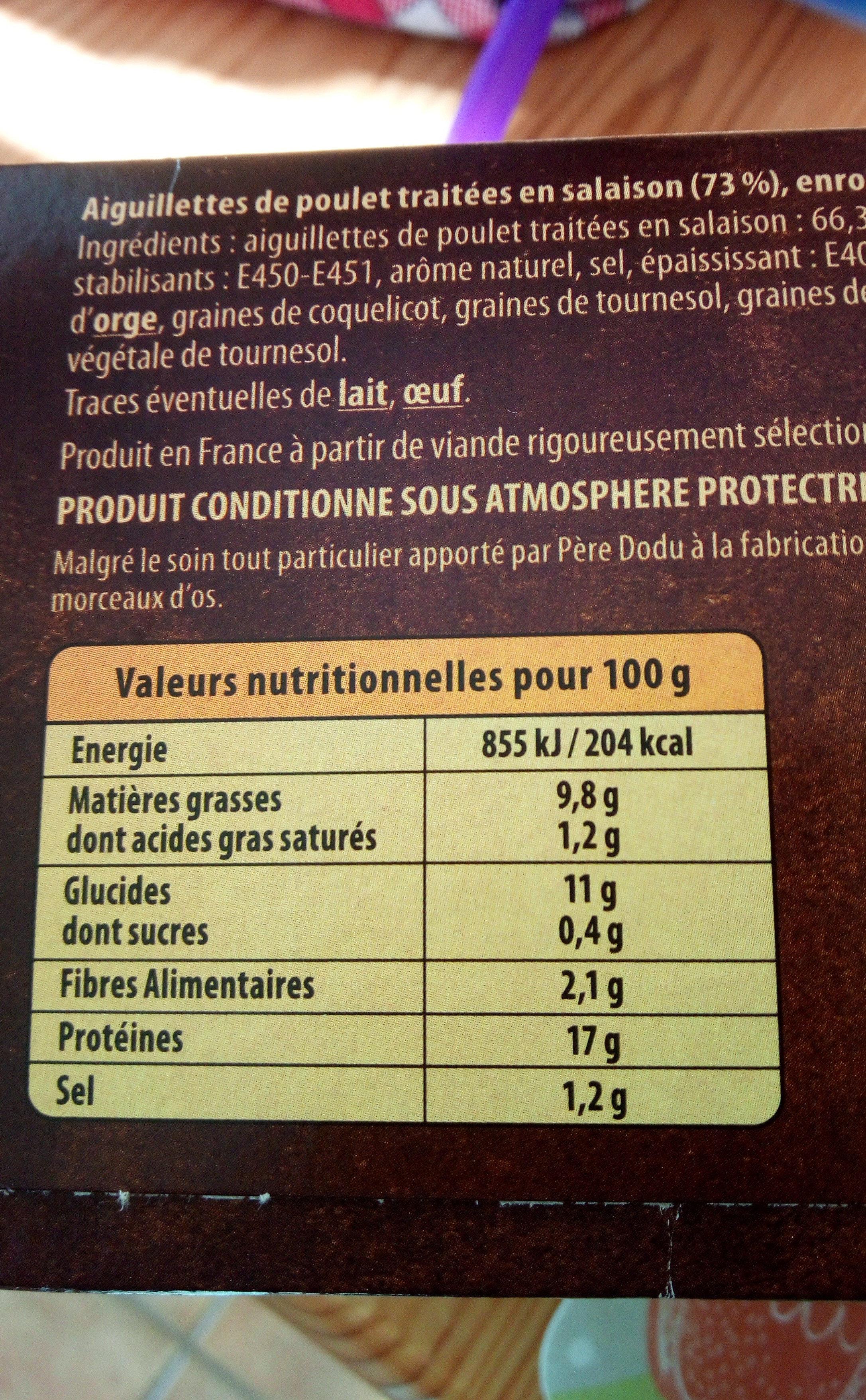 Aiguillettes de poulet chapelure multigrains - Valori nutrizionali - fr