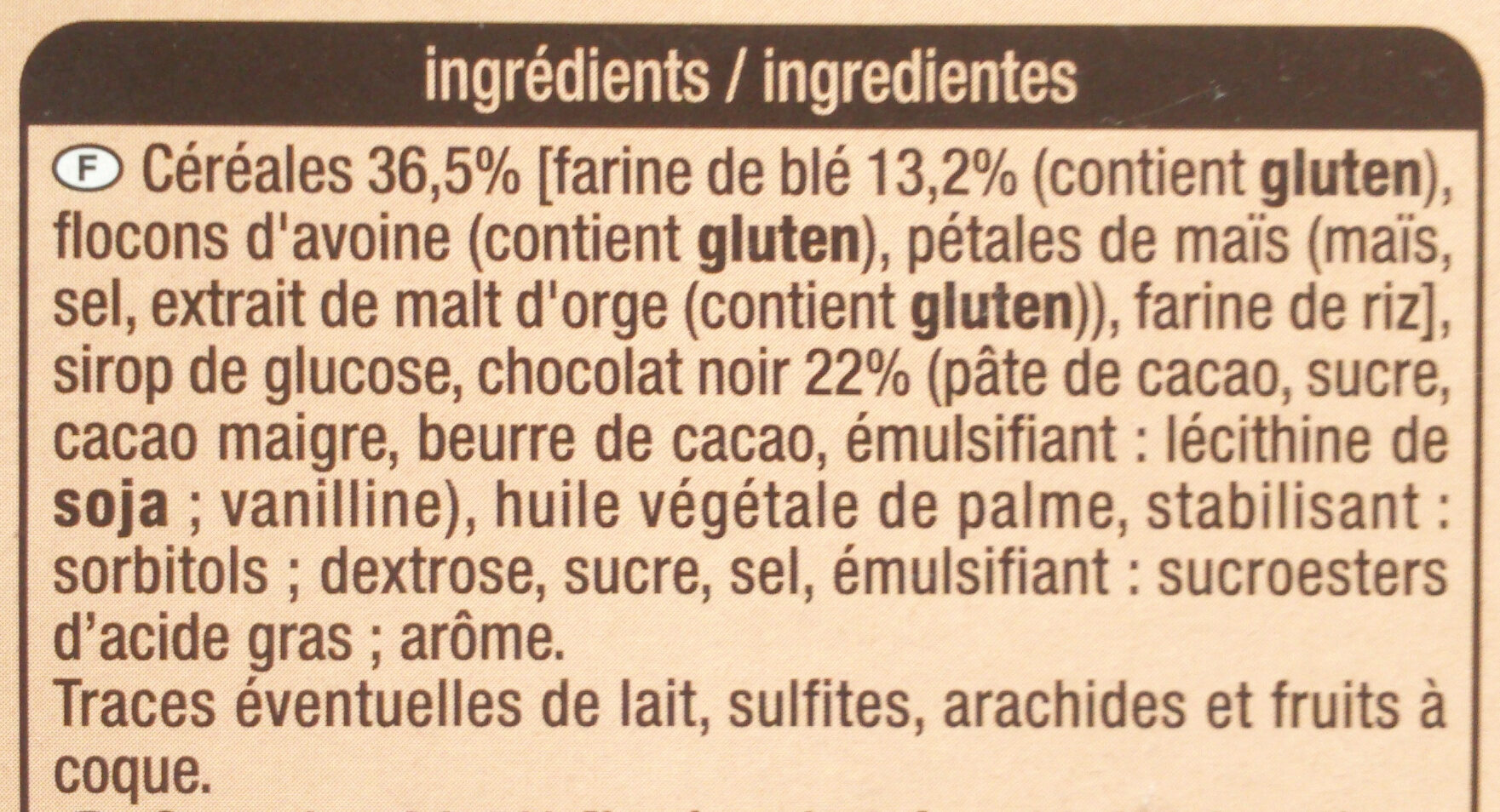 Crousty - Chocolat noir - Ingrediënten - fr