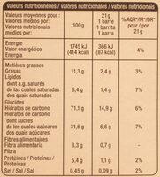 Crousty - Chocolat noir - Informations nutritionnelles