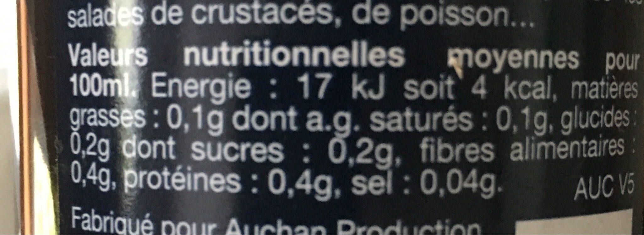 Auchan Vinaigre De Xerès - Nutrition facts