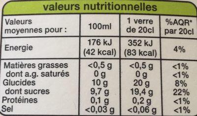 100 % Pur Jus pomme - Informations nutritionnelles
