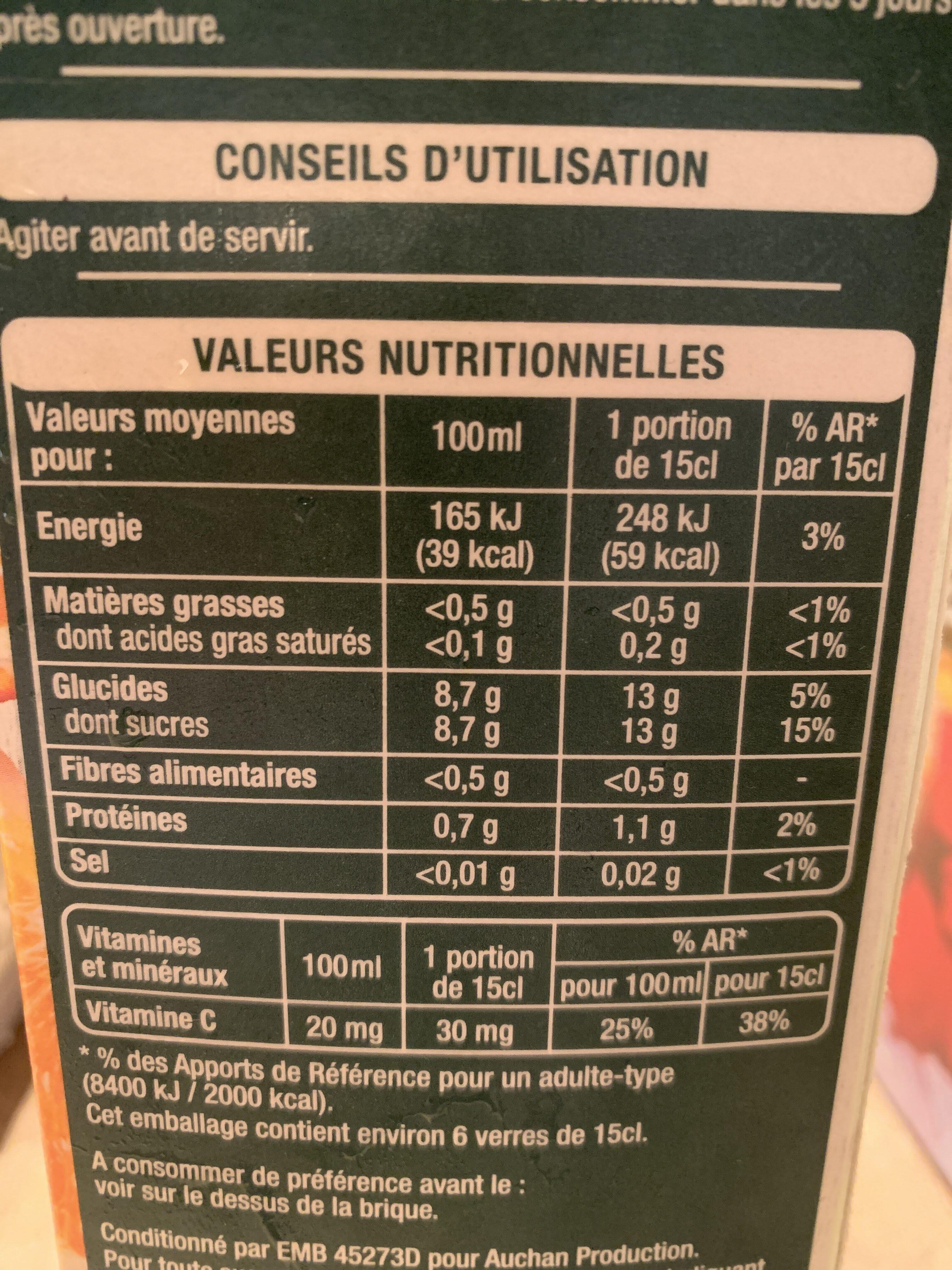 Fruits pressés 100 % Pur Jus Orange avec  pulpe - Produit - fr