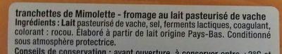 Tranchettes de Mimolette - Fromage au lait pasteurisé de vache - Ingredients