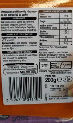 Tranchettes de Mimolette - Fromage au lait pasteurisé de vache - Informations nutritionnelles - fr