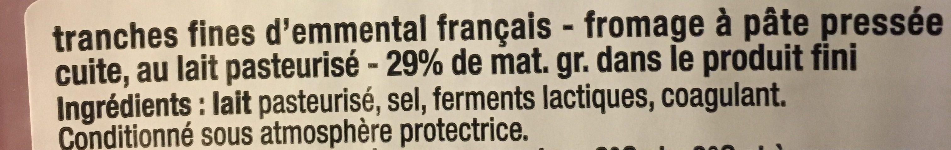 Tranches Emmental - Ingrediënten