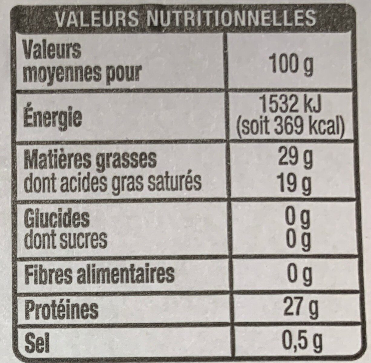 Tranches Emmental - Informations nutritionnelles - fr