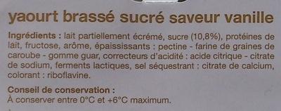 Yaourt brassé saveur vanille (8 pots) - Ingredients