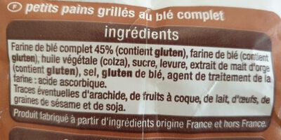 Petit pain grillé au blé complet - Ingredients