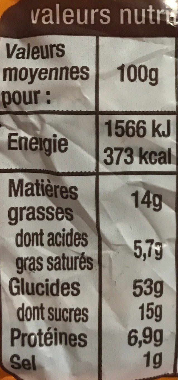 brioche tressée aux œufs frais - Informations nutritionnelles - fr