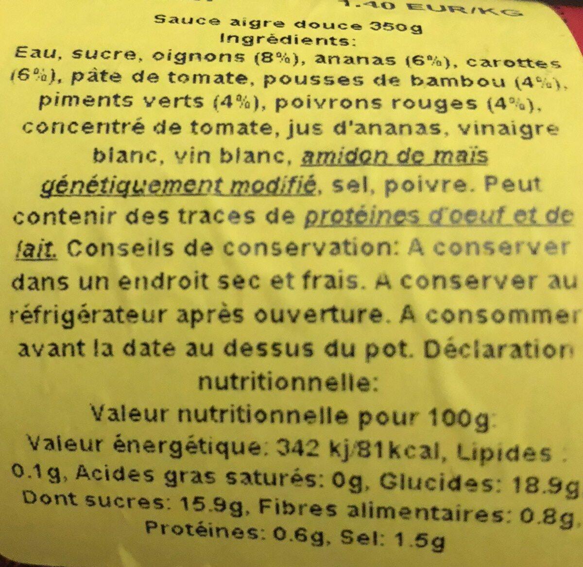 Sauce Aigre Douce - Ingredients