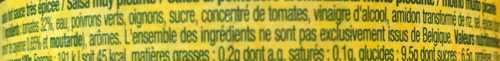 Salsa hot - Ingrédients - fr
