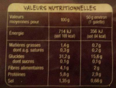 Galettes Bretonnes de Blé Noir - Nutrition facts