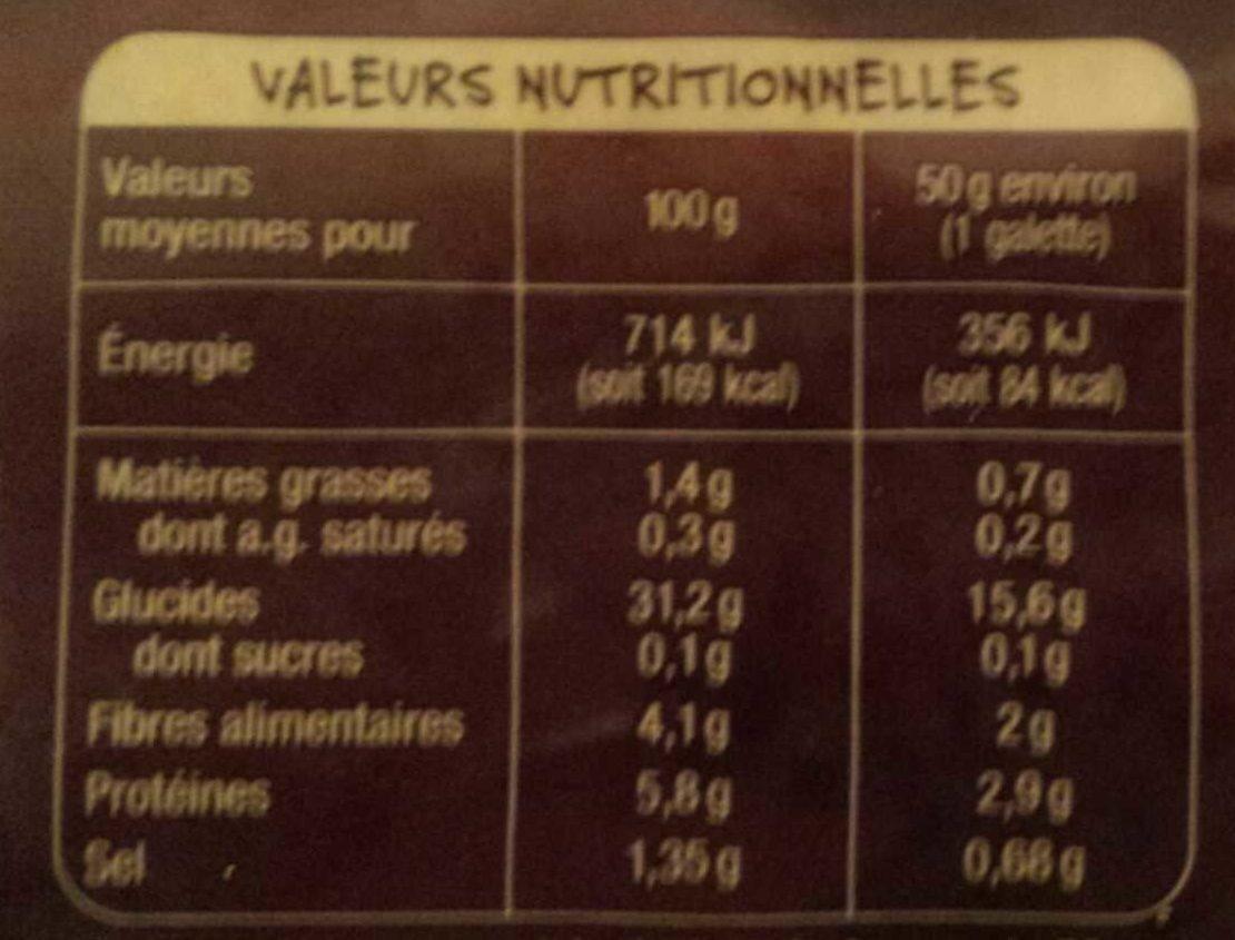 Galettes Bretonnes de Blé Noir - Nutrition facts - fr