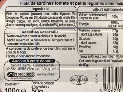 Filet de sardines tomate et petits légumes sans huile - Ingredients - fr