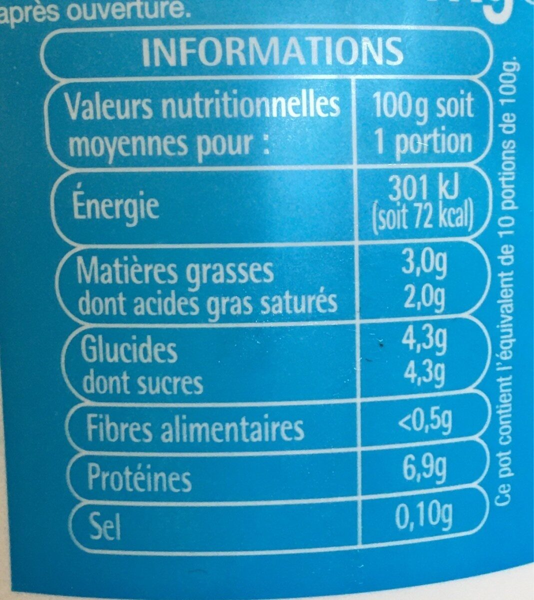Fromage blanc - Informations nutritionnelles - fr