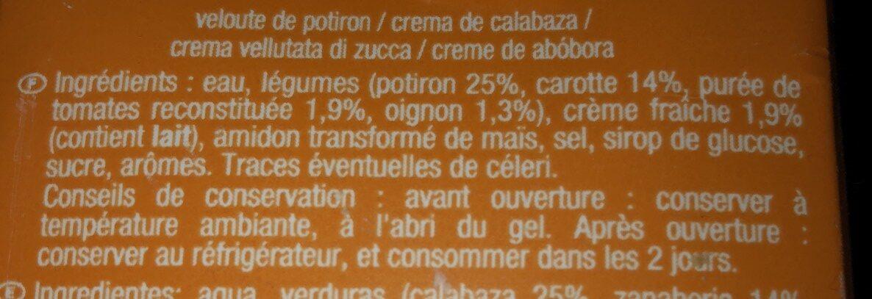 Velouté de Potiron - Ingrediënten - fr