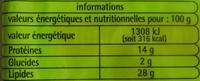 Lardons fumés (sans couenne, sans cartilage) - Voedingswaarden - fr