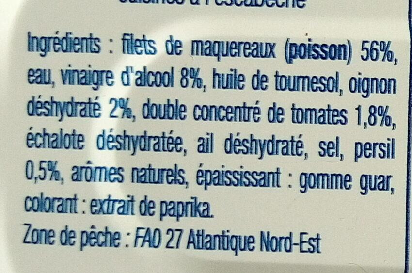 Filets de maquereaux sauce escabèche - Ingredienti - fr