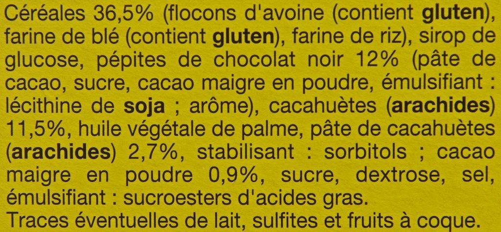 6 Barres Céréalières Chocolat-Cacahuètes - Ingredients