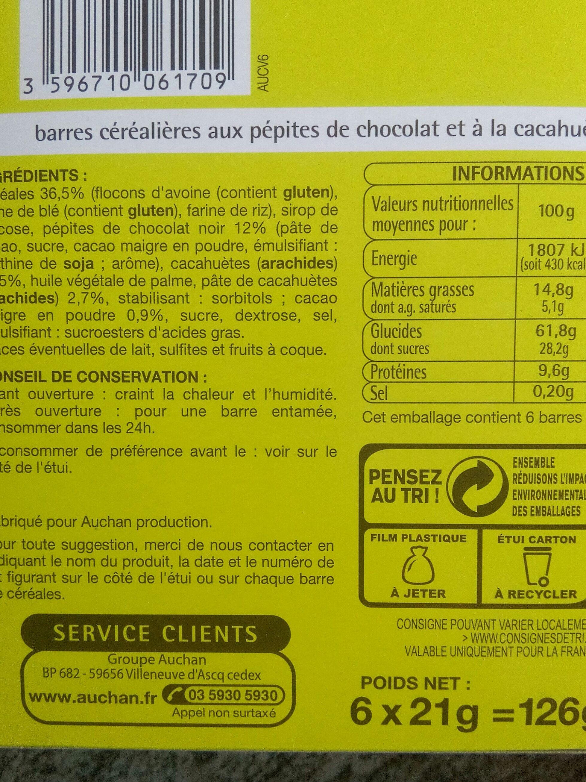6 Barres Céréalières Chocolat-Cacahuètes - Ingrediënten - fr