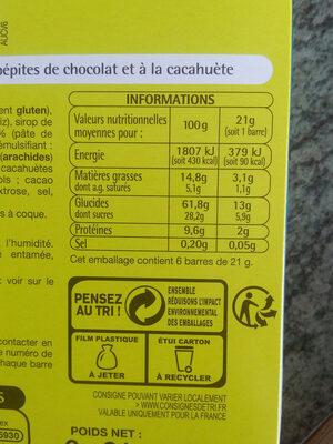 6 Barres Céréalières Chocolat-Cacahuètes - Voedingswaarden