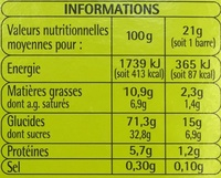 Barres céréalières Chocolat-Banane - Nutrition facts