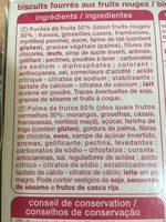 Barres fruits rouges x6 - Ingredients