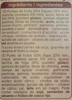 Barre Riches en Fruits Figues Pruneaux - Ingredients