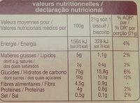 Barre Riches en Fruits Figues Pruneaux - Nutrition facts